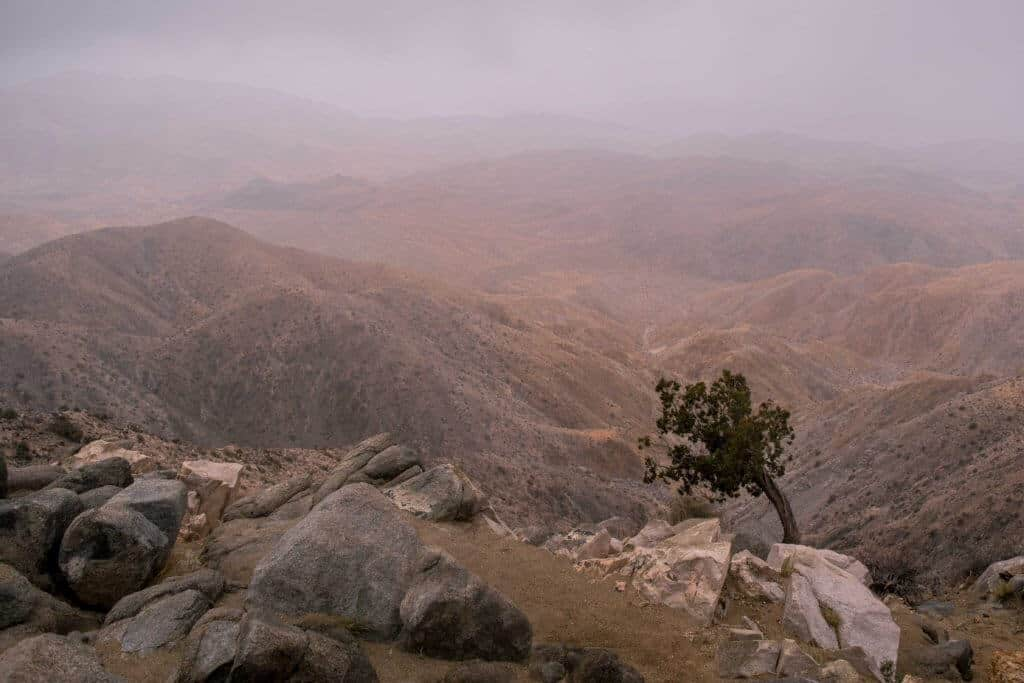 Cloudy sunset from Key's View in Joshua Tree National Park.