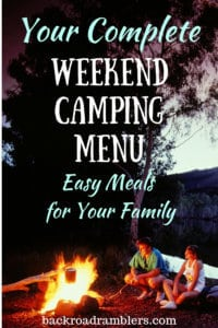 Two people sit near a campfire in the dark. Caption reads: Your complete weekend camping menu, easy meals for your family.