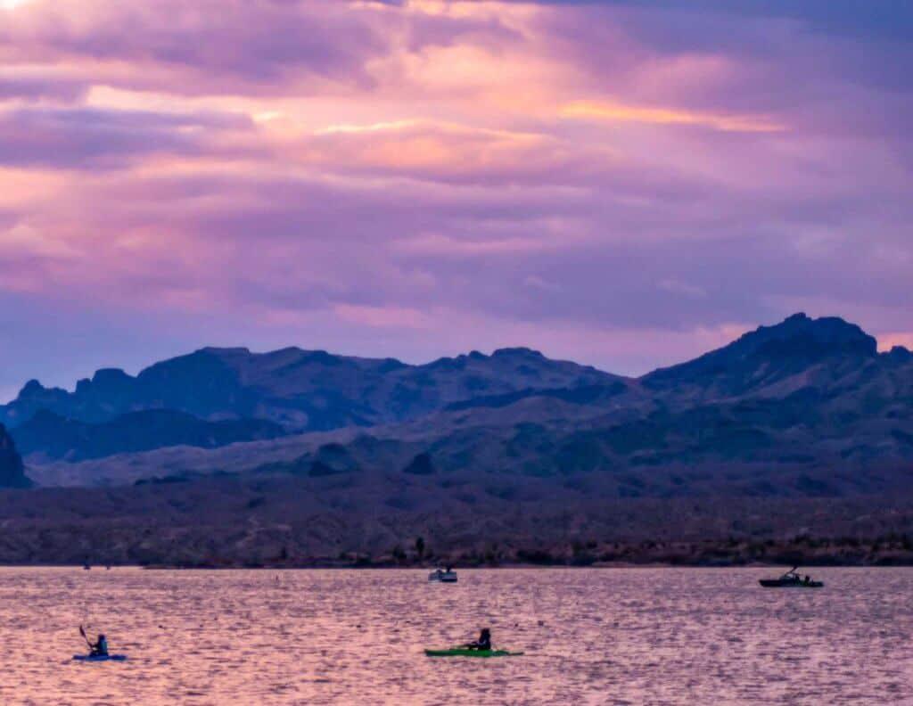 Paddlers taking in the sunrise on Lake Havasu in Arizona