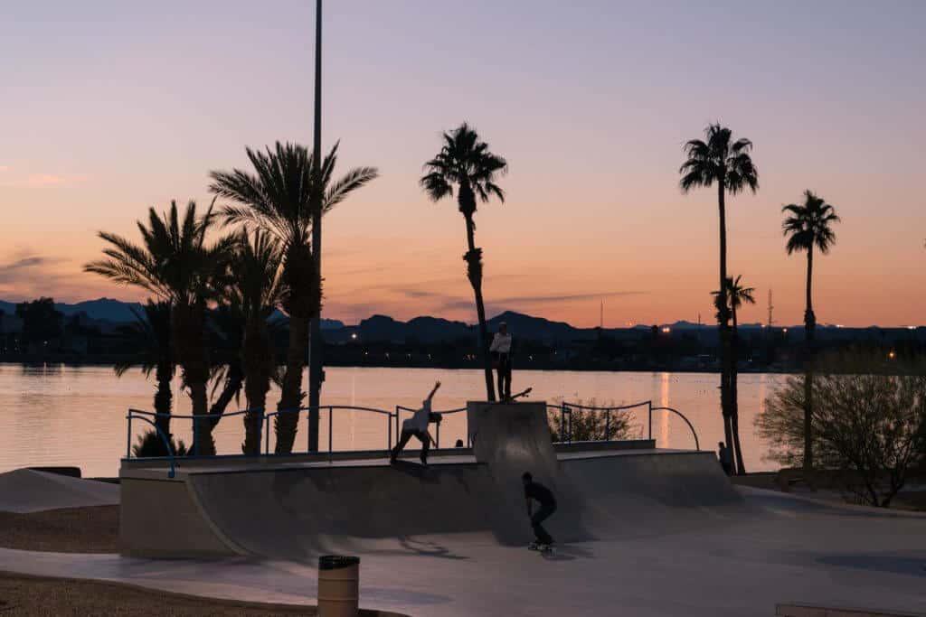 The skate park during sunset in Lake Havasu City, AZ