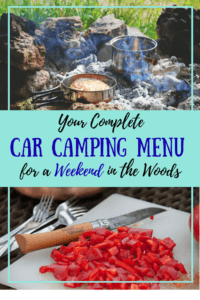Two different camp cooking photos with the caption: Your Complete Car Camping Menu for a Weekend in the Woods.