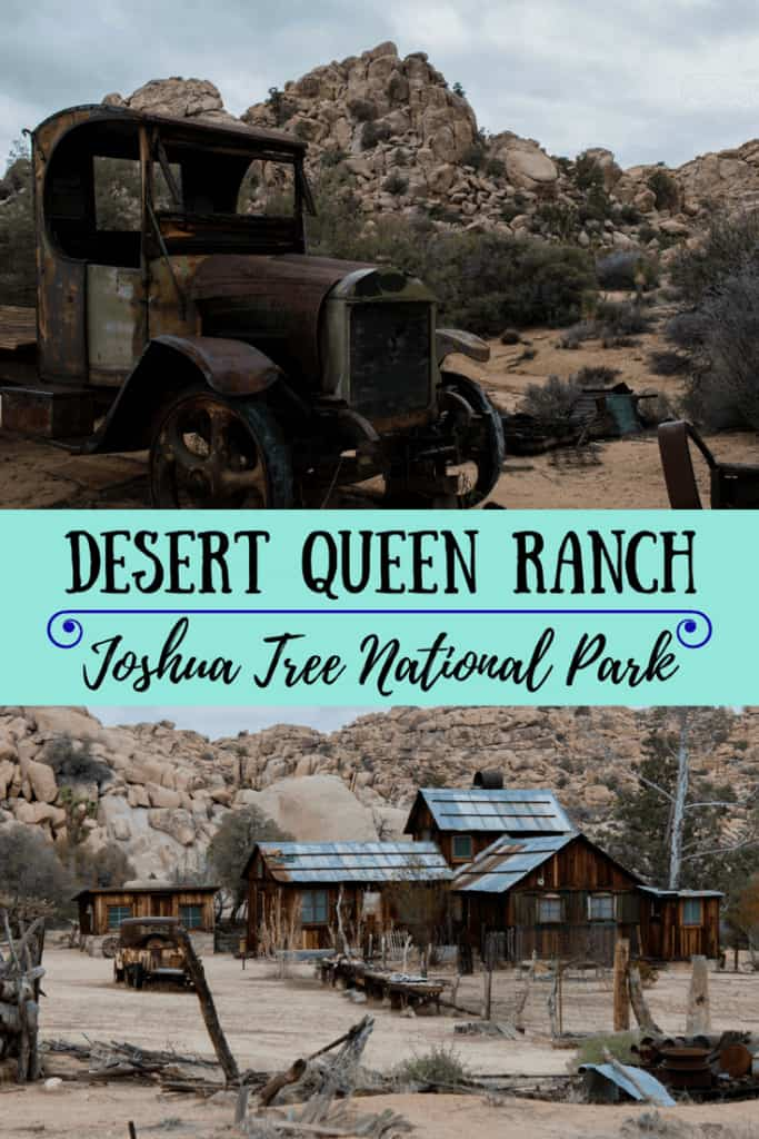 Two photos of the Desert Queen Ranch in Joshua Tree National park.