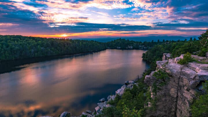 Sunset over Lake Minnewaska