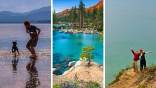 A collage of photos featuring the best lake vacations for families.