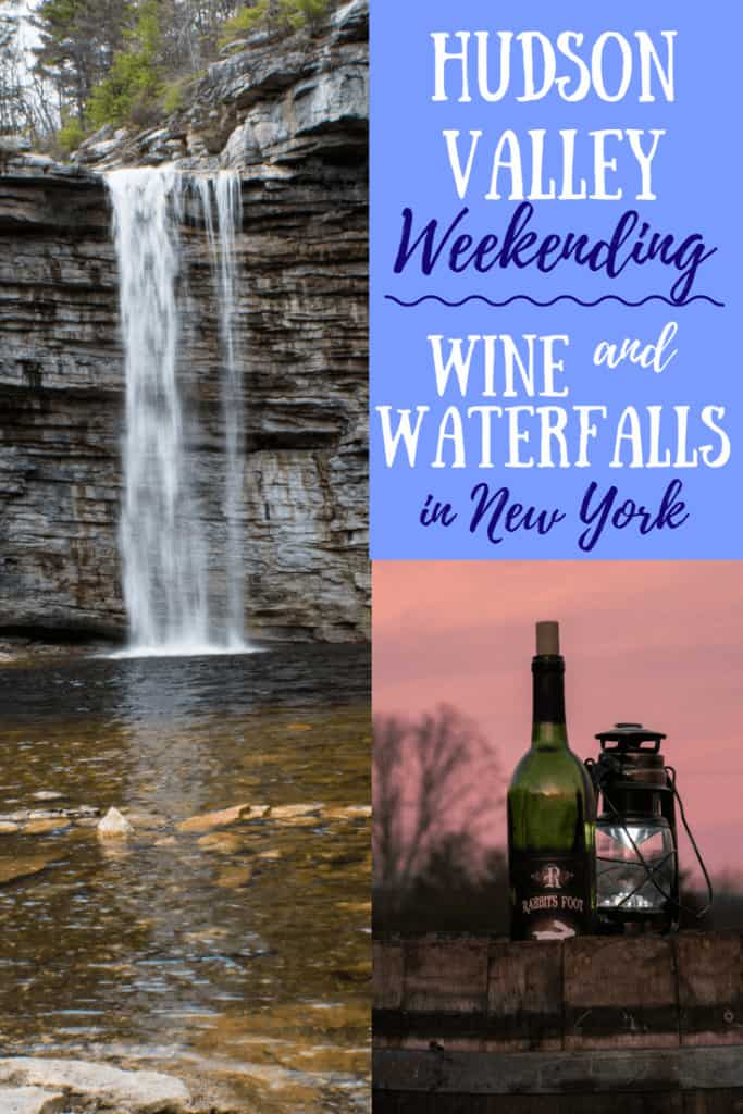 A collage of Hudson Valley, NY photos showing a waterfall and a bottle of wine.