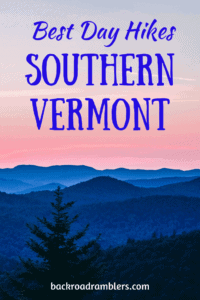 Sunset over the mountains of Vermont. Caption reads: Best Hiking in Southern Vermont