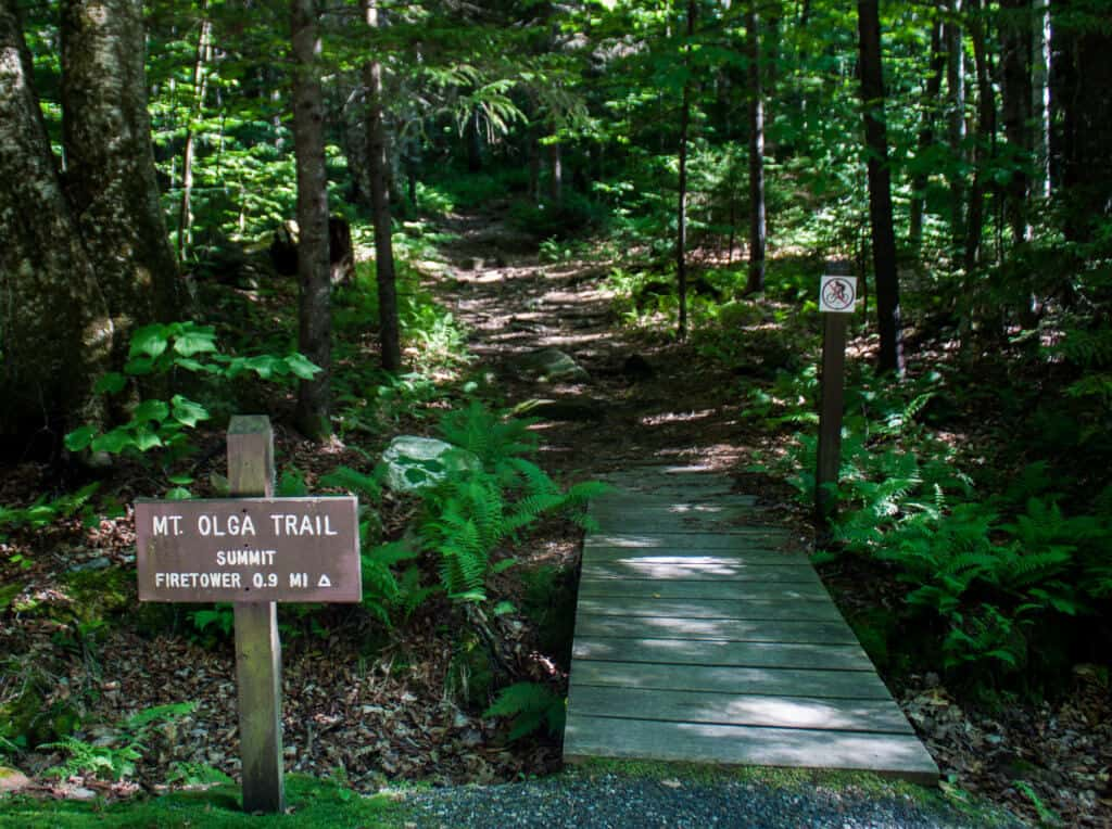 A sign for the trailhead to Mt. Olga