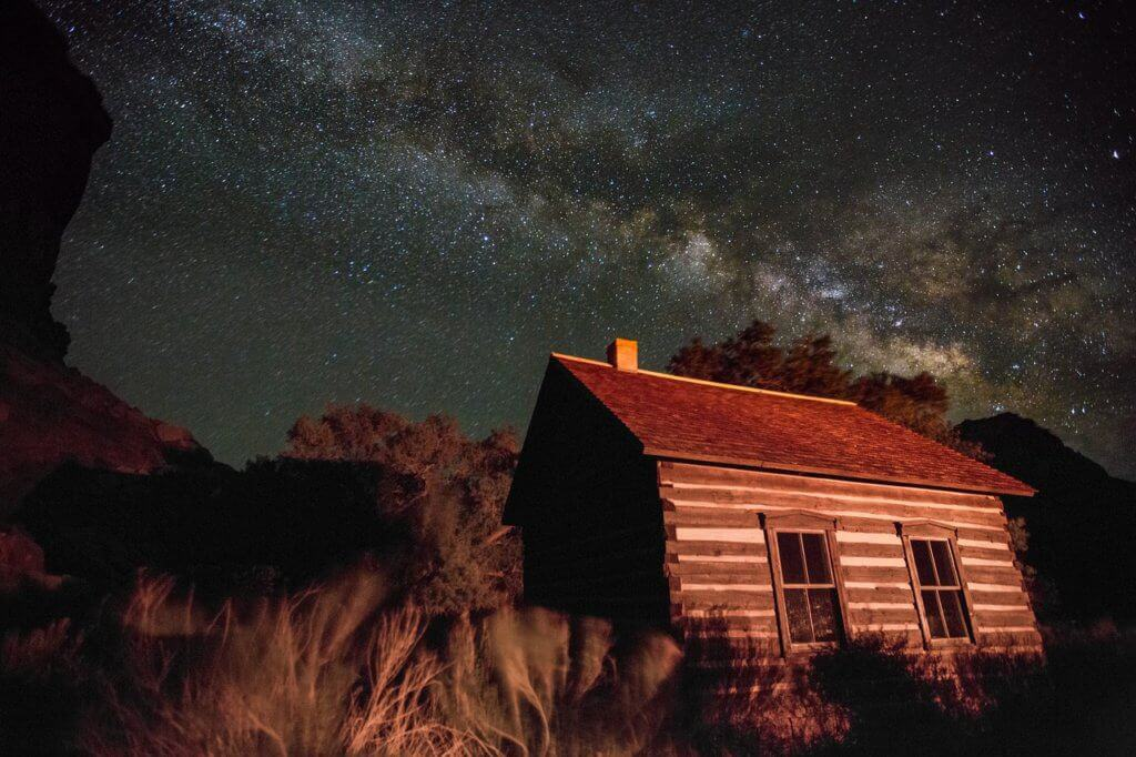 The Fruita Schoolhouse in Capitol Reef National Park at night