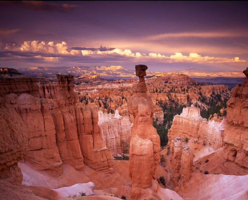 A sunset view of Thor's Hammer in Bryce Canyon National Park