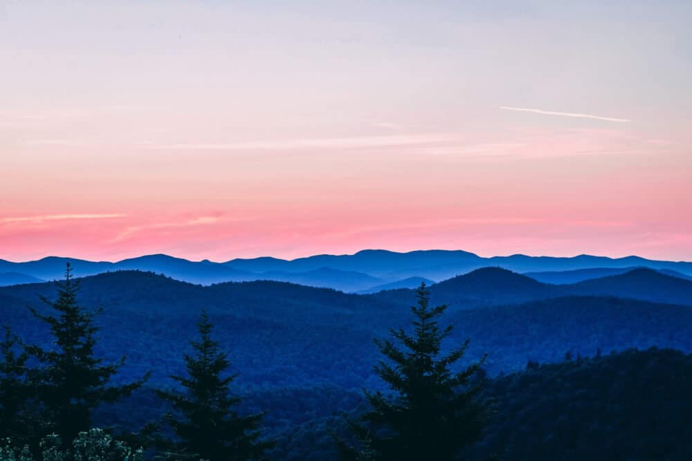 A sunset over the Green Mountains of Vermont