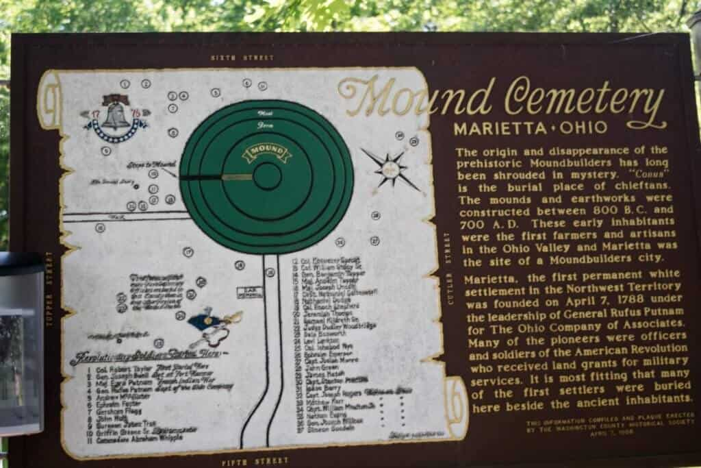 Mound Cemetery Sign in Marietta, Ohio