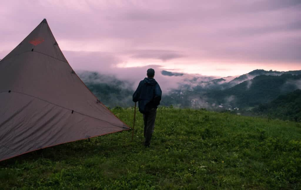 Checking out the foggy sunrise from our campsite at Free Verse Farm in Chelsea, Vermont.