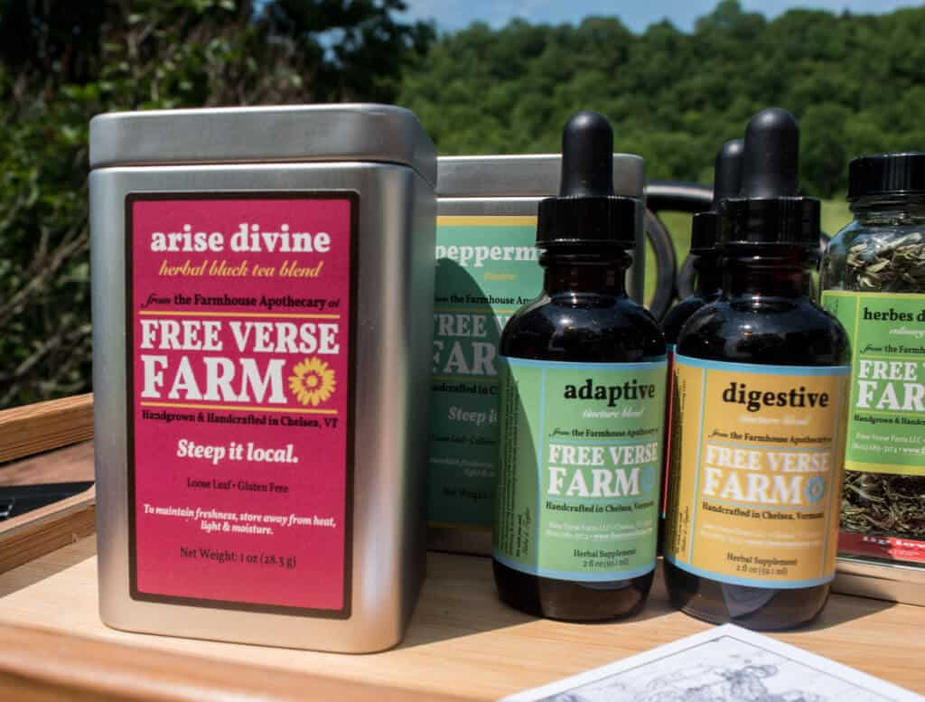 A selection of herbal remedies available at Free Verse Farm in Chelsea, VT.