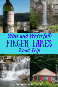 A collage of Finger Lakes photos. Caption reads: Wine and Waterfalls. Finger Lakes Road Trip
