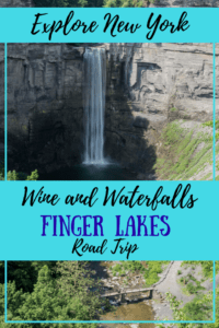A view of a Finger Lakes waterfall. Caption reads: Explore New York. Wine and Waterfalls Finger Lakes Road Trip