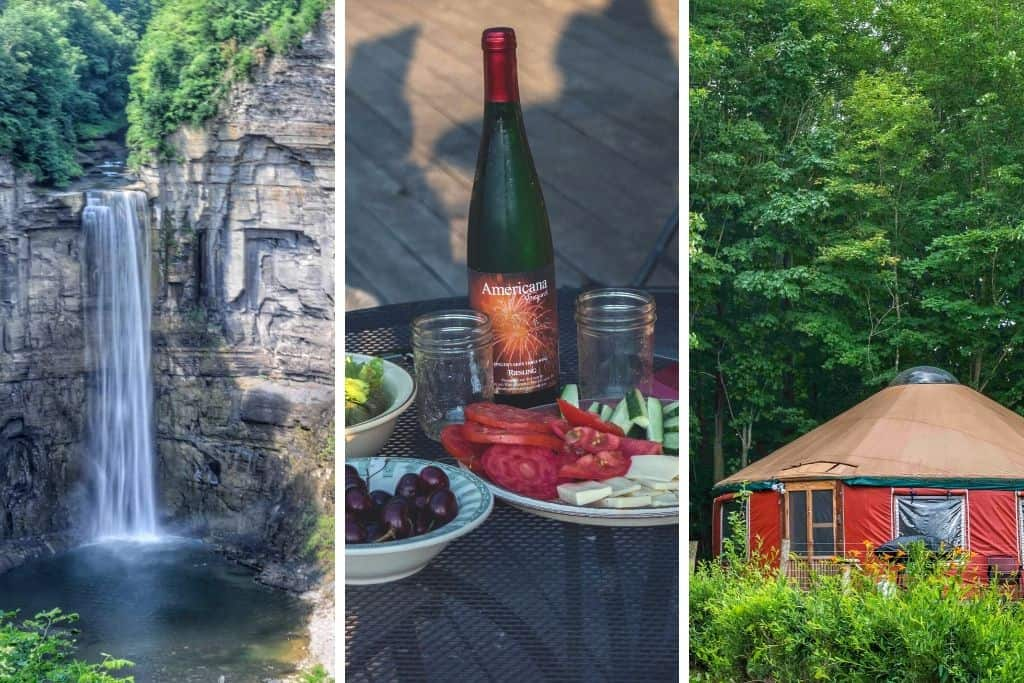 A collage of photos featuring a waterfall in the Finger Lakes, a wine from Americana Vineyards, and a yurt rental in the Finger Lakes