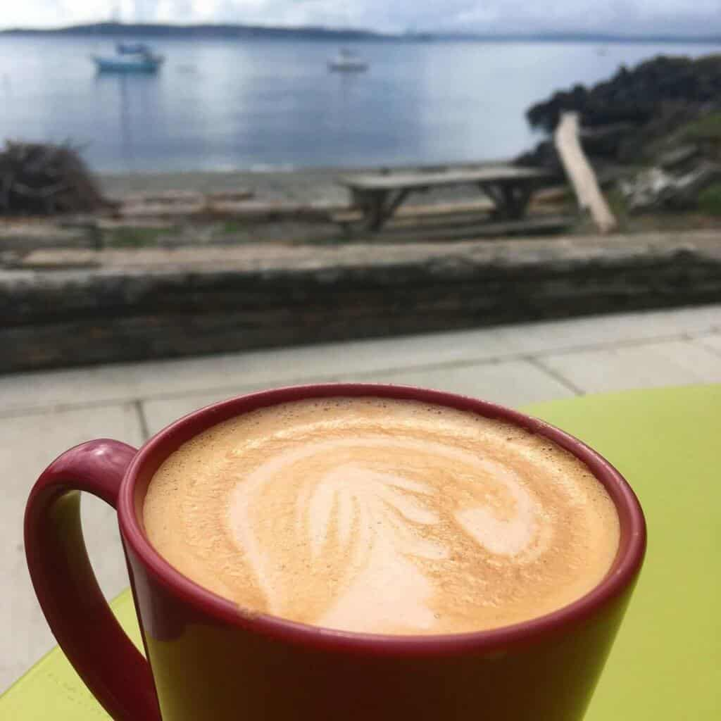 A cup of coffee on the beach