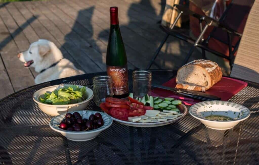 A spread of picnic fare including wine from American Vineyards in the Finger Lakes