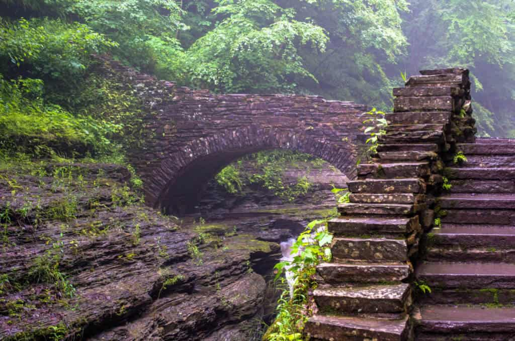 A set of stairs on a hiking trail in Watkins Glen State Park