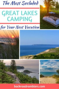 A collage of beach photos. Caption reads: The most secluded Great Lakes Camping for Your Next Vacation.