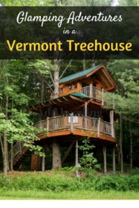 A two-story treehouse nestled in the woods of Vermont. Caption reads: Glamping Adventures in a Vermont Treehouse