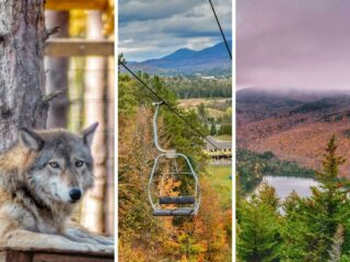 A collage of photos featuring Lake Placid, NY in the fall.