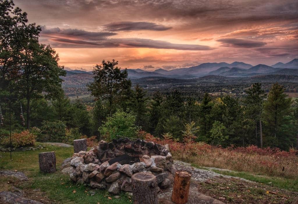 Sunset over the Adirondack mountains