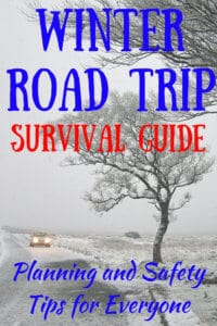 A car driving through the snow. Caption reads: Winter Road Trip Survival Guide