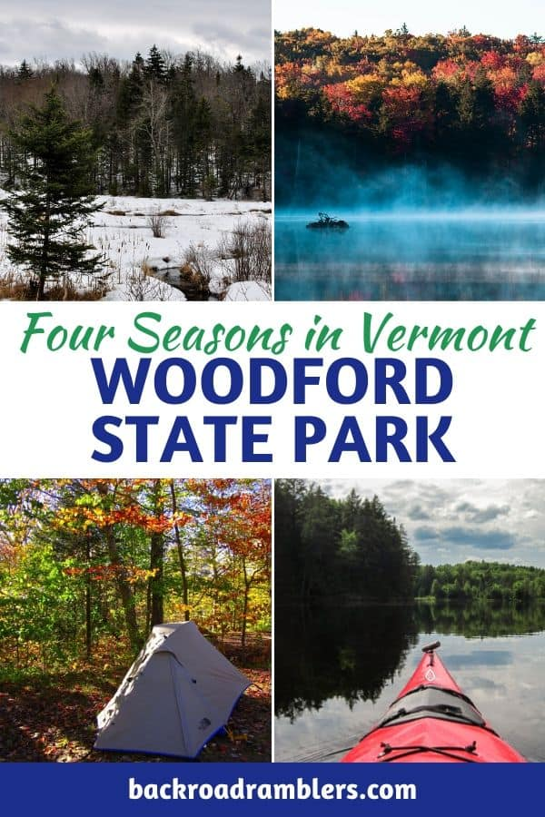 A collage of photos of Woodford State Park in Vermont