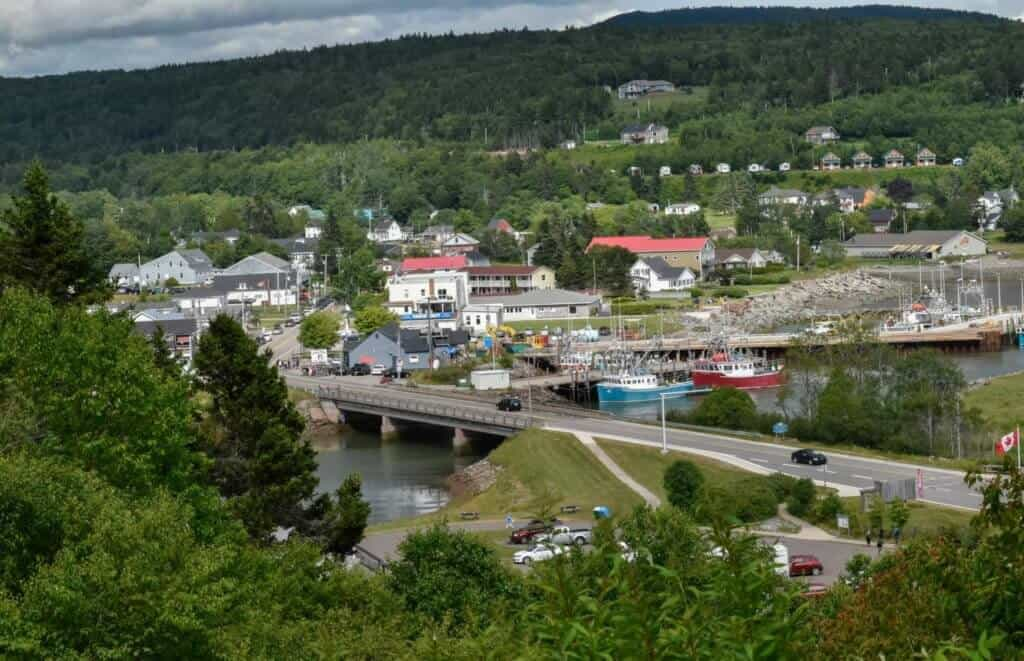 The town of Alma as seen from Headquarters Campground in Fundy National Park.