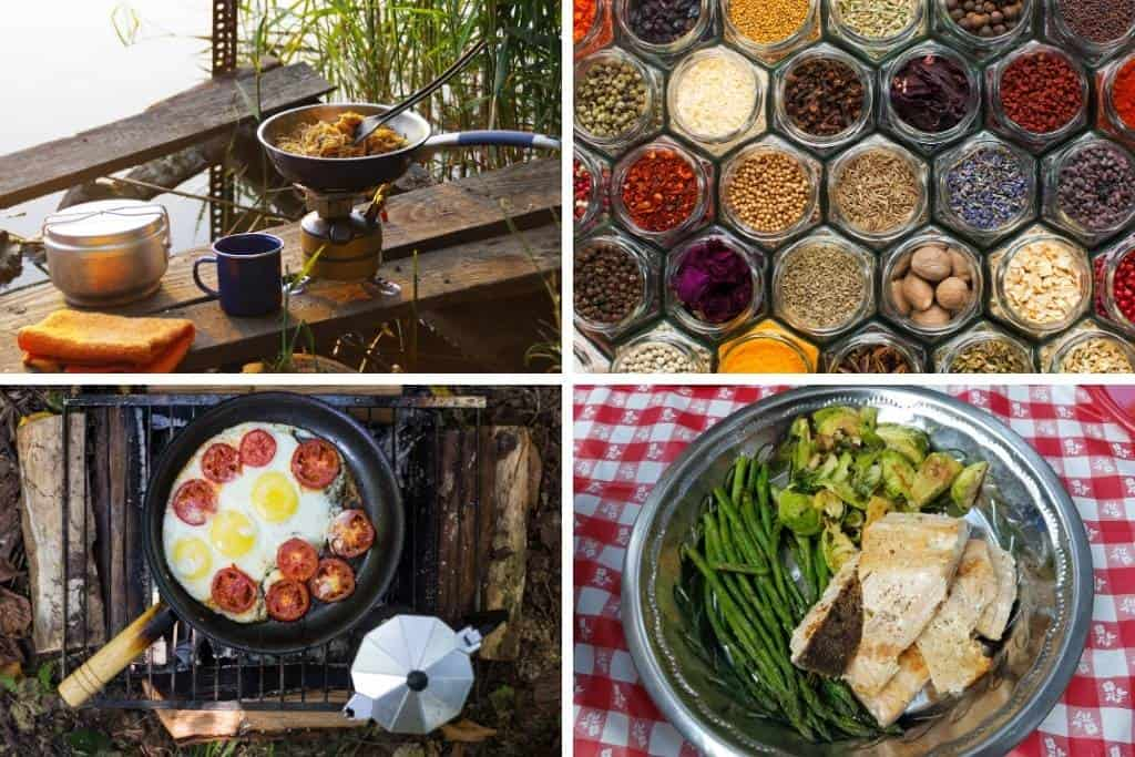 A collage of photos that feature cooking while camping