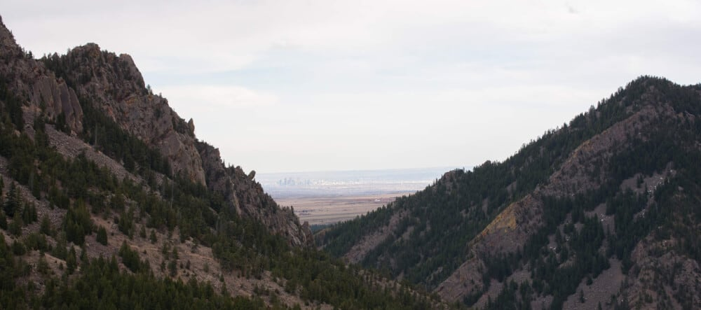 A view of the mountains in Eldorado Canyon State Park
