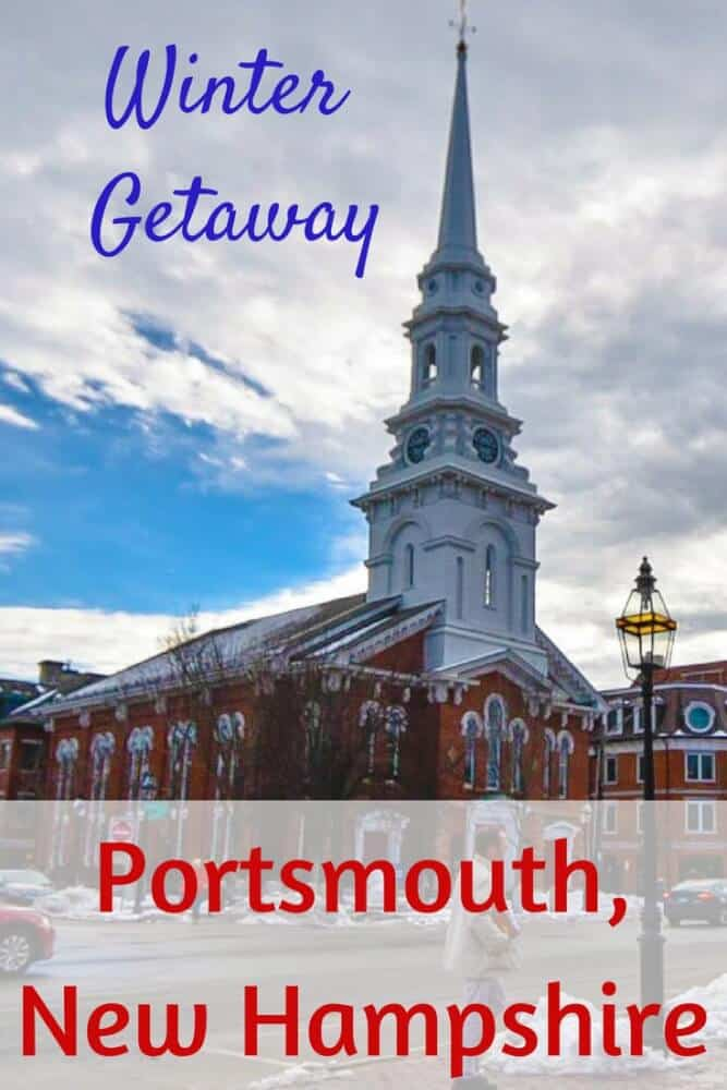 A photo of the old church in Portsmouth, New Hamspshire. Caption reads: Things to do in Portsmouth NH in the winter.