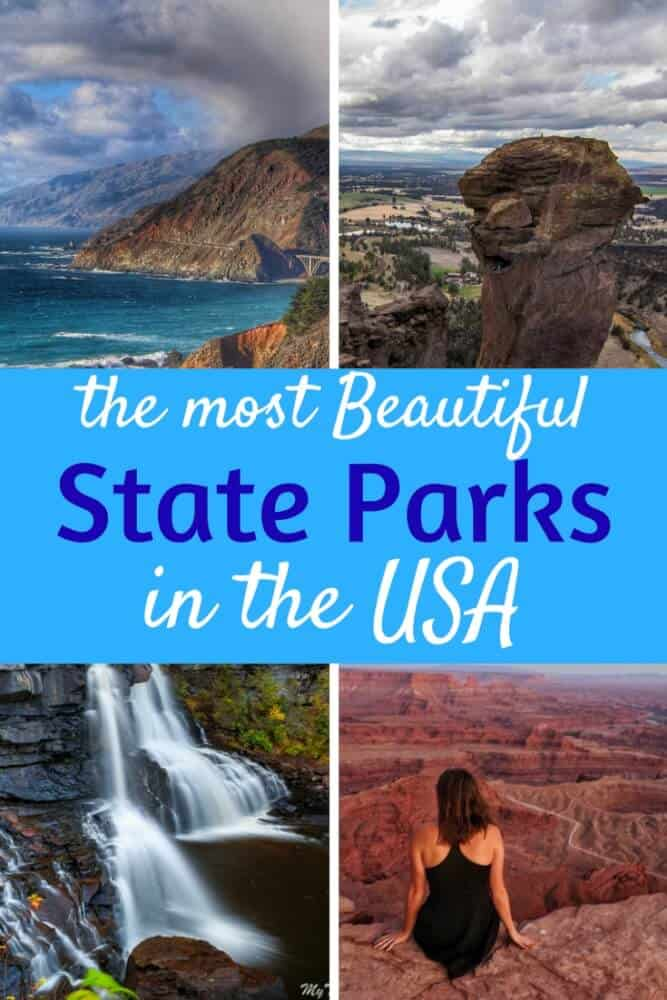 Several shots of state parks across the USA - a rocky beach, red rocks, and a waterfall