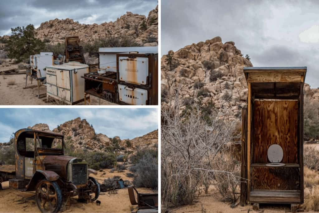 A collage of photos from the Keys Ranch in Joshua Tree National Park.