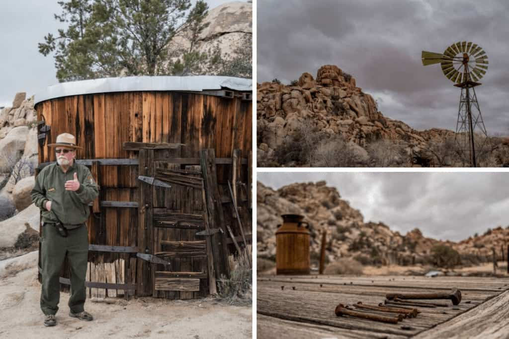 a collage of photos from the Keys Ranch (also known as Desert Queen Ranch) in Joshua Tree National Park