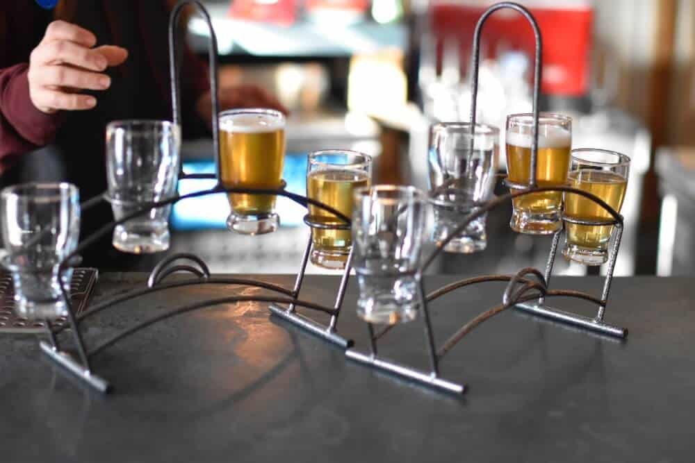 A flight of local beers at Throwback Brewery