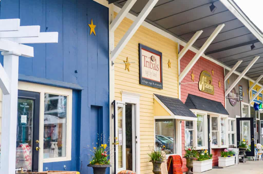 colorful shops in Peterborough, NH