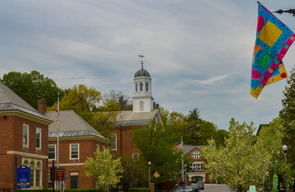 A view of downtown Peterborough, NH in the summer