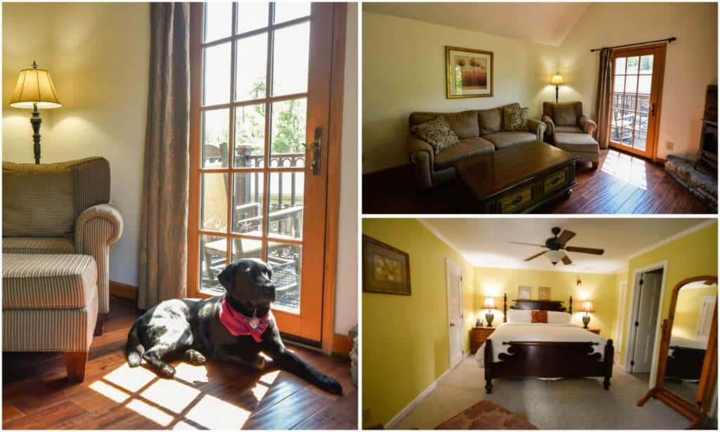 A photo collage of the inside of the Tarheel Suite at Hillwinds Inn in Blowing Rock, NC