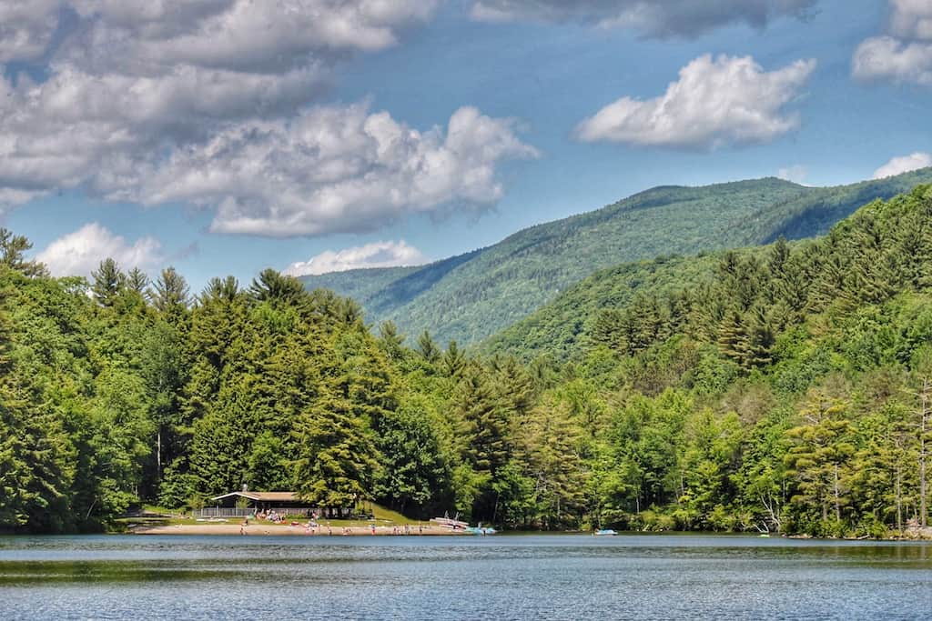 The view of the beach at Emerald Lake State Park in Vermont