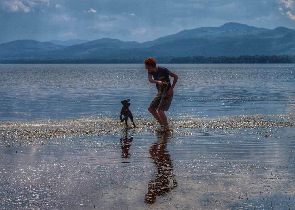 A boy plays with a young puppy in a lake surrounded by mountains