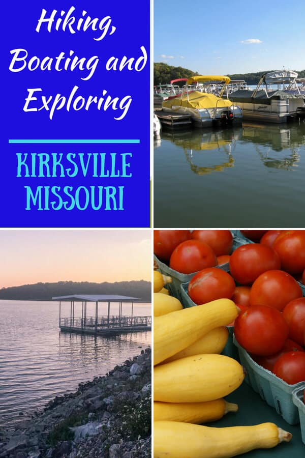 A photo collage featuring Kirksville Missouri - boats in a marina, vegetables at the farmers' market, and a sunset over a lake.