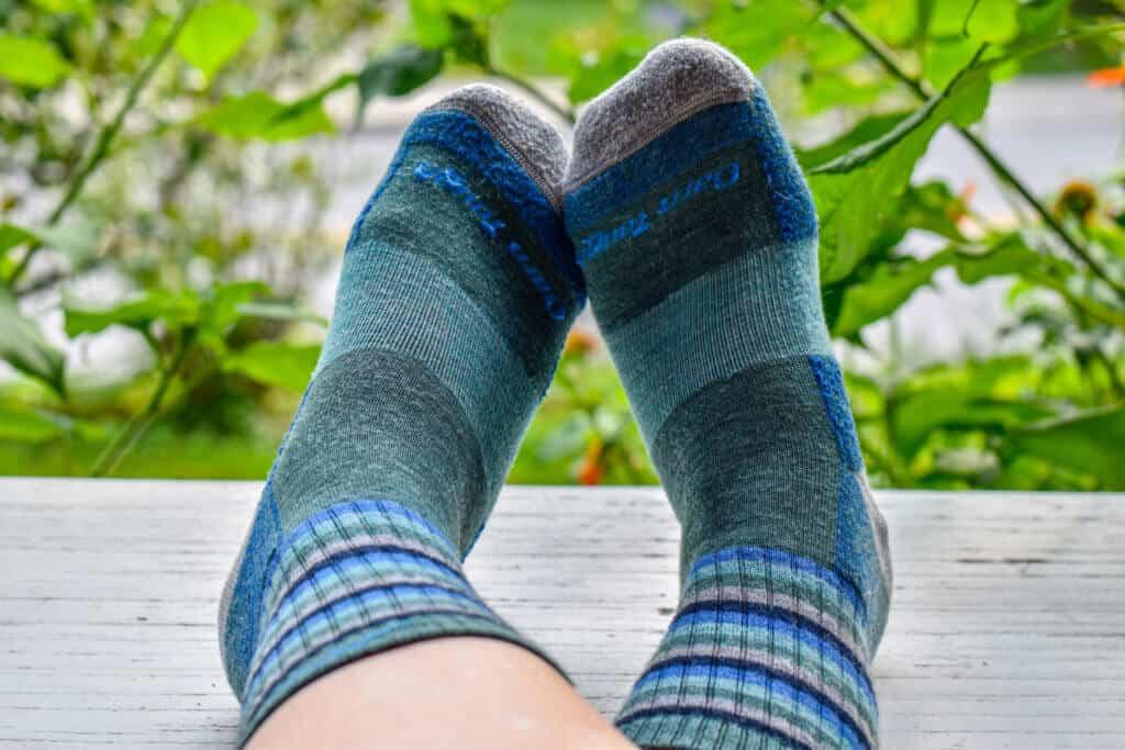 A colorful pair of Darn Tough socks