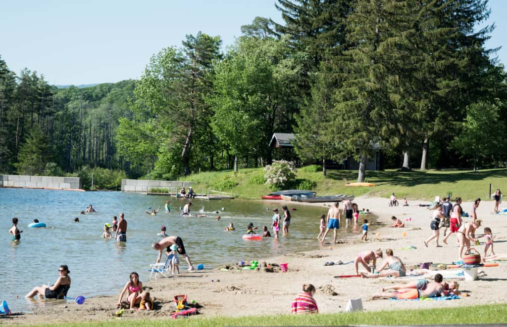The summer beach at Lake Shaftsbury State Park in Vermont