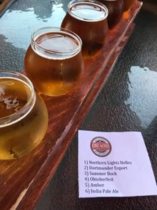 A close-up of sample beers at One Love Brewery in Lincoln, NH