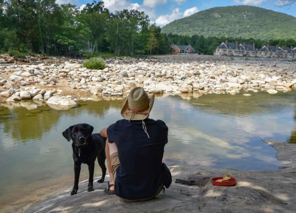 A man and a black Labrador picnicking next to a river