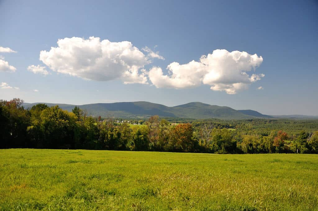 A long distance view of the mountains from Bartholomew's Cobble in the Berkshires