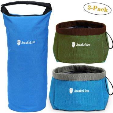 Awakelion Collapsible Dog Bowl, Portable Travel Dog Bowl Kit