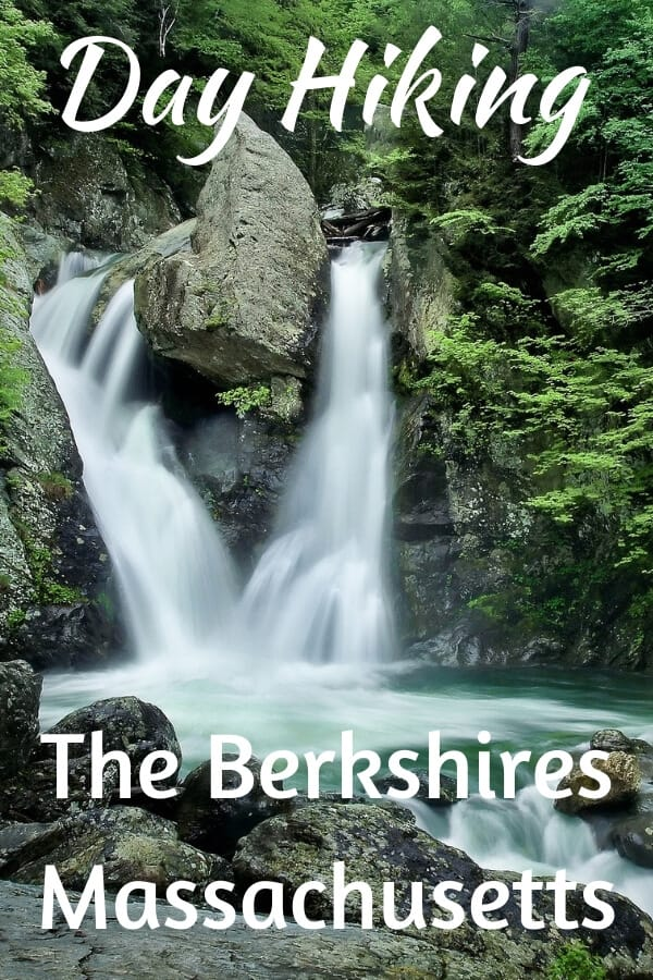 Bash Bish Falls in Massachusetts. The caption reads: Day Hiking: Berkshires